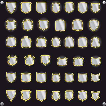 Shields for design. Metal collection. Vector
