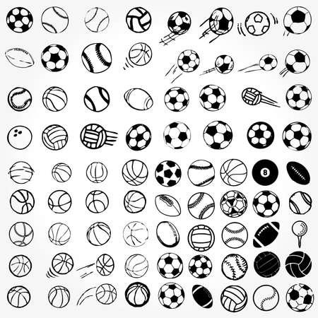 racket sport: Conjunto de iconos de deportes de pelota ilustraci�n c�mica de s�mbolos