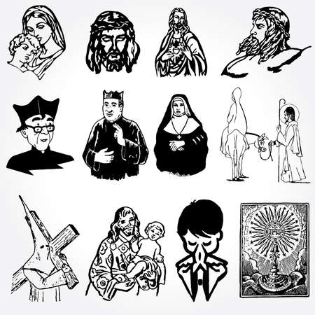 vector illustration of catholic silhouettes Vector