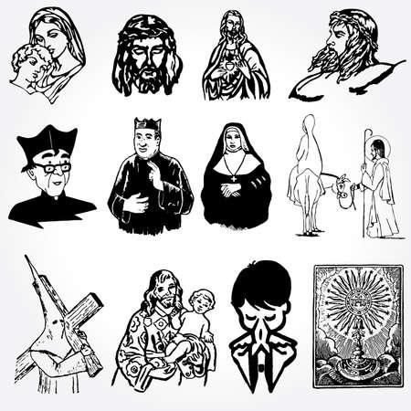 clergyman: vector illustration of catholic silhouettes Illustration