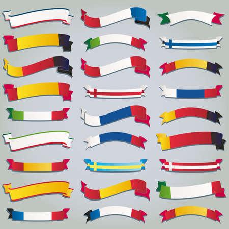 bandera de polonia: Set de vectores de cintas banderas de Europa