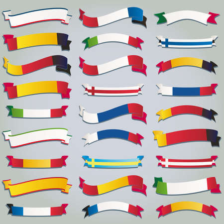 greek flag: Vector set ribbons flags europe