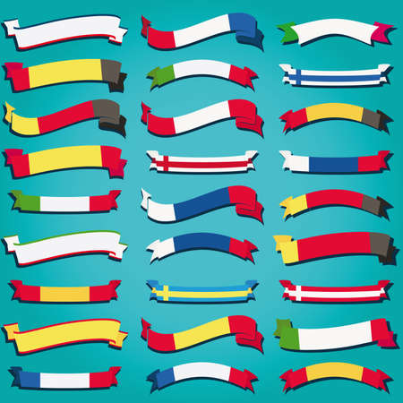 Vector set ribbons flags europe Vector