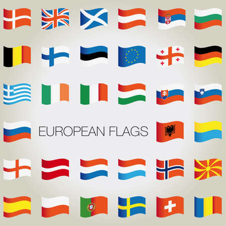 Set of flags with waves for your design. Vector illustration. Vector
