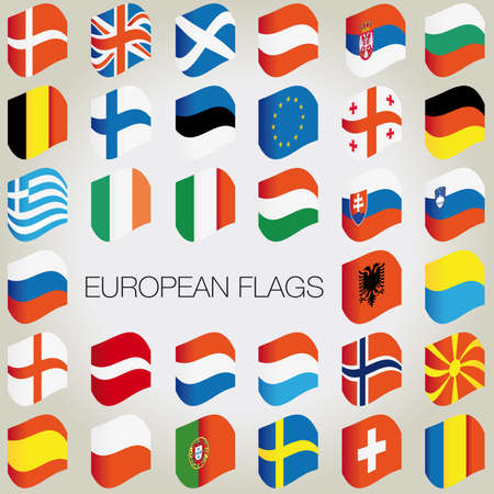 europa: Set of flags with waves for your design. Vector illustration.