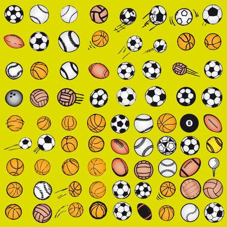 Set Ball sports icons symbols comic vector illustration Vector