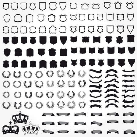 гребень: Векторный набор геральдические символы щиты ленты крон Иллюстрация