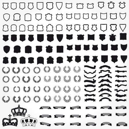 Vecteur défini boucliers de symboles héraldiques rubans couronnes Vecteurs