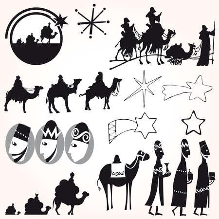 betlehem: Drei Weise M�nner legen Sie Weihnachten. Illustration
