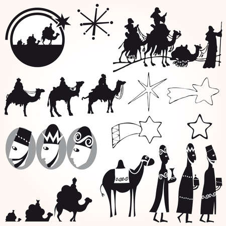 Three Wise men Christmas set. Illustration