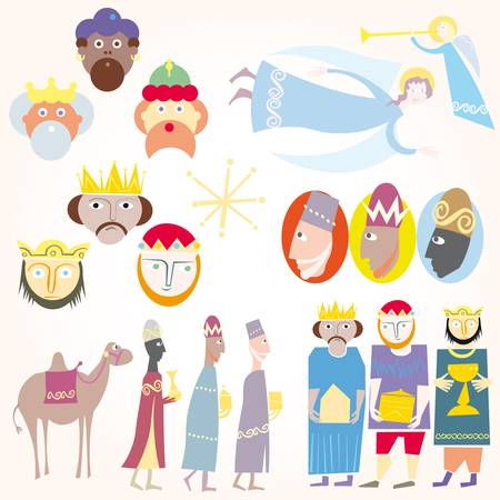 wise men: Three Wise men Christmas set. Illustration