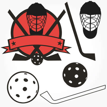 hockey uni-hockey floorball stick and puck illustration sign and symbol Stock Vector - 10954110
