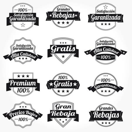 Set vector spanish Premium high Quality sales free Labels with retro design