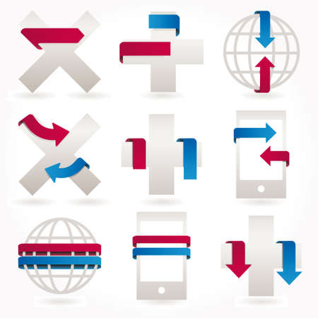 Arrows Stickers icons and banners set Vector