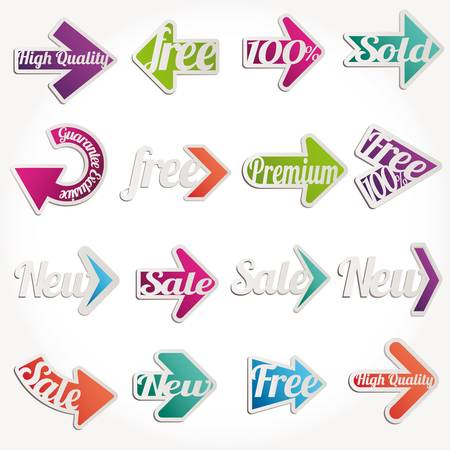 Collection arrows of sale labels, stickers and banners Stock Vector - 11115021