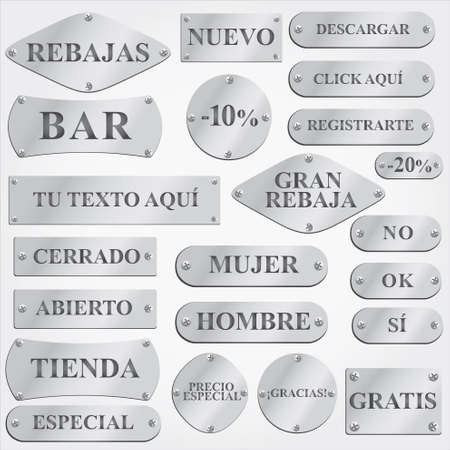 metal plaque: Old silver plates and signboards with Spanish text