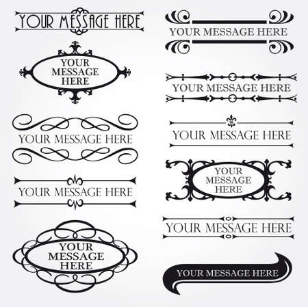 groom and bride: Set of ornate vector frames and ornaments