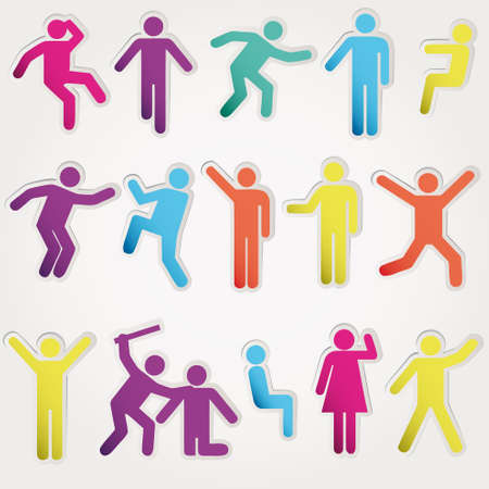 woman run: Schematic icons set people. illustration object isolated