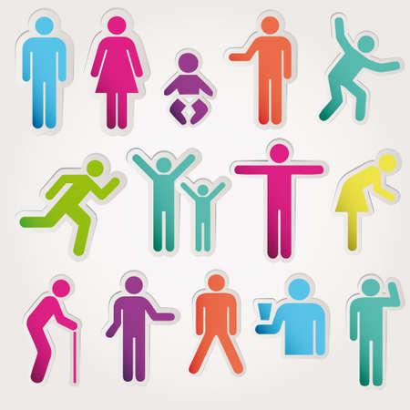 inodoro: Iconos esquemáticos poner a las personas. Vector ilustración de objetos aislados