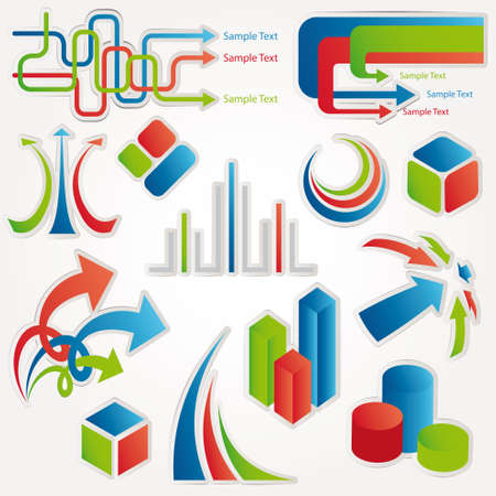 the third dimension: Abstract design elements. Vector illustration. Illustration