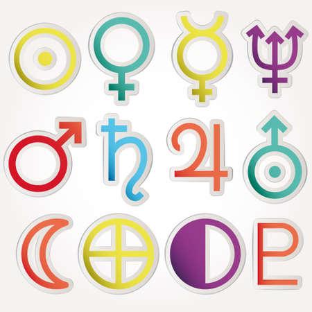 Dierenriem en astrologie symbolen van de planeten Stock Illustratie