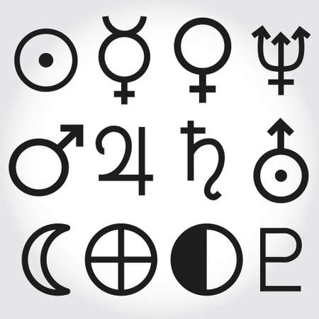 venus: Zodiac and astrology symbols of the planets Illustration