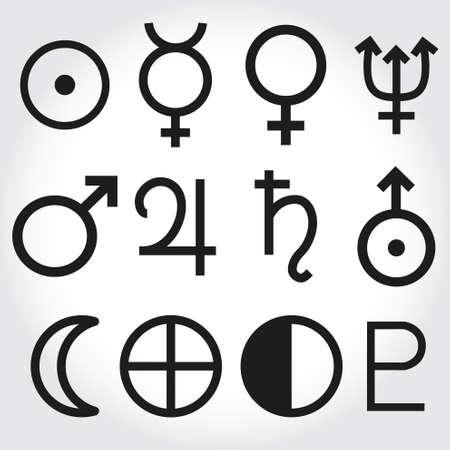 neptuno: Zodiac y la astrología símbolos de los planetas Vectores