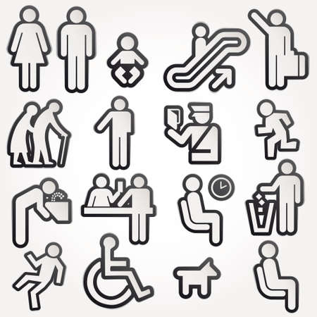 bathroom sign: Vector illustration schematic Icons Sign Symbol Pictogram