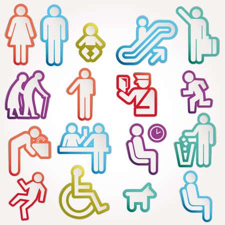 simbolo uomo donna: Icone schematiche illustrazioni vettoriali Accedi Pittogramma Simbolo