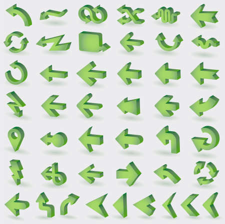 pointing up: vector icon set: 3d arrows