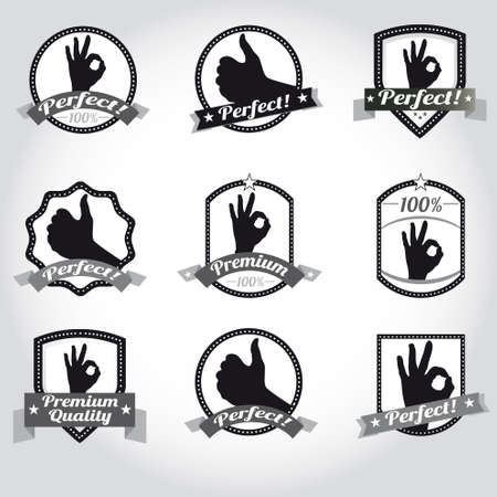 Set of vintage retro premium quality badges and labels Stock Vector - 12327049