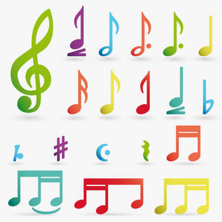 music note: Vector music note icon on sticker set.