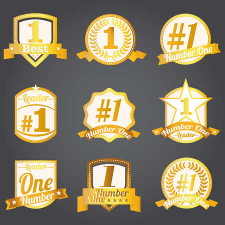 ribbon award: Vector badges, certificates and seal icons. Number one.