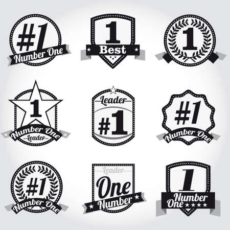 number one: Insignias vectoriales, certificados y los iconos del sello. Número uno.