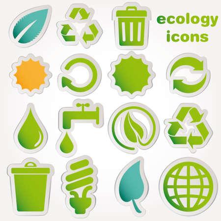 antipollution: De reciclaje y recolecci�n de la ecolog�a iconos Vectores