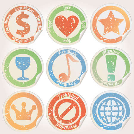Grunge icon stickers