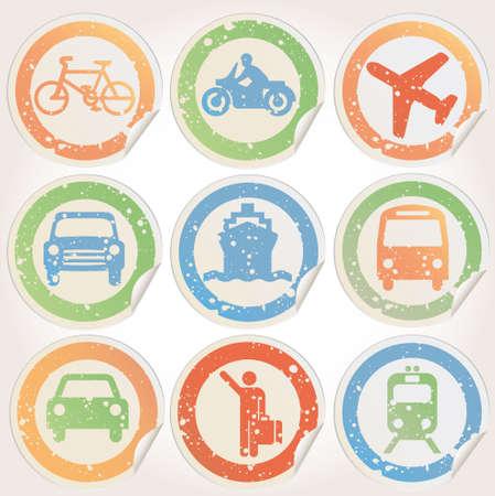 Grunge Autocollants avec des images de transport