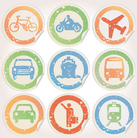public transportation: Stickers grunge with transportation images Illustration
