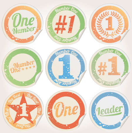 Badges, certificates and seal icons  Number One  Vector