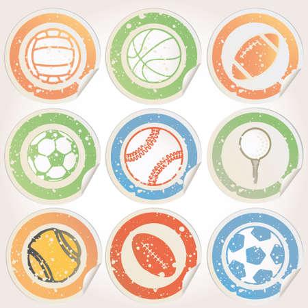 deportes caricatura: Juego de pegatinas de bolas Deportes Vectores