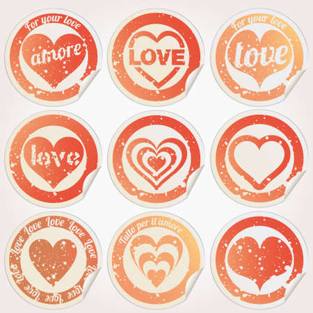 Sticker heart love grunge Vector