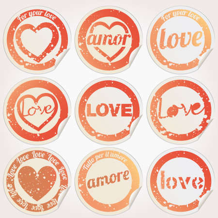 declaracion de amor: Pegatina del amor del coraz�n del grunge Vectores