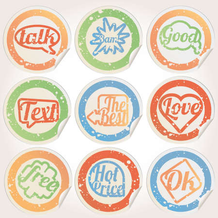Set sticker paper grunge Vector