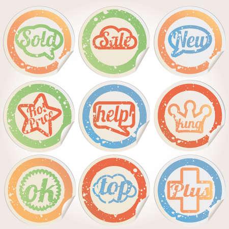 Set sticker paper grunge Vector