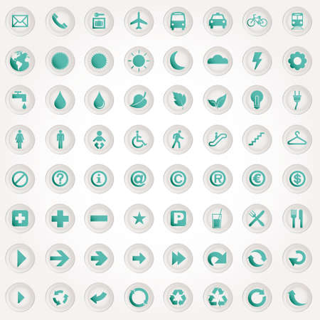 set presentation buttons icons Stock Vector - 12595625
