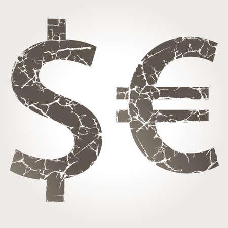 dolar: Dólar símbolo del euro, con fisura
