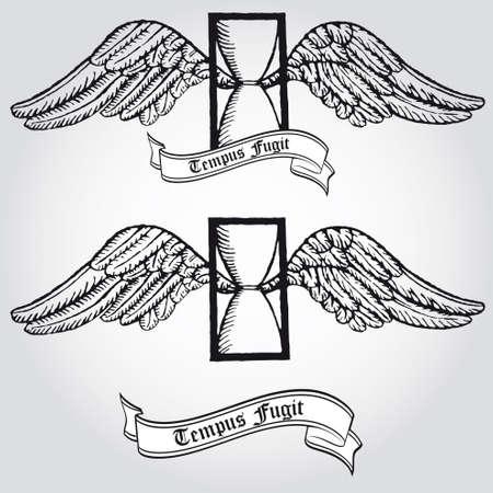 masonic: Tempus fugit  Passing time  Tattoo  Symbol  Hourglass