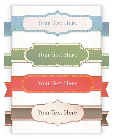 Set of retro ribbons and labels.  Ilustração