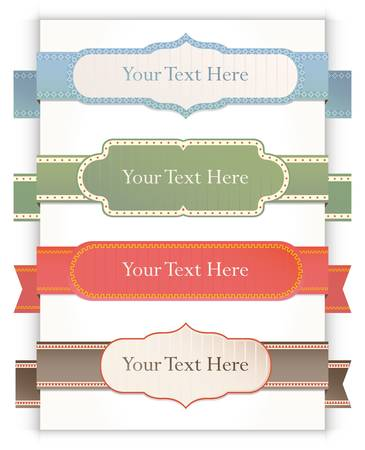 scrapbooking elements: Set of retro ribbons and labels.  Illustration