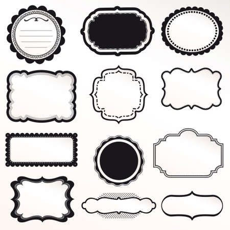 Frame Vector Set decoración ornamental vendimia
